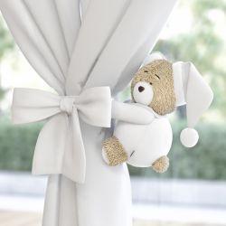 Prendedor de Cortina Ursinho Branco Clássico