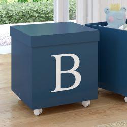 Caixa Organizadora para Brinquedos Azul Marinho com Inicial do Nome Personalizada