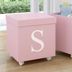 Caixa Organizadora para Brinquedos Rosa com Inicial do Nome Personalizada