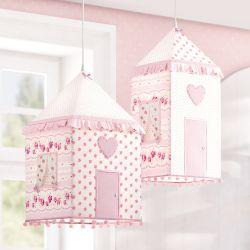 Luminárias de Teto Casinhas Patchwork Rosa