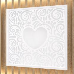 Quadro Coração Branco Clássico 18cm
