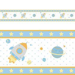 Faixa Adesiva de Parede Astronauta Patchwork Azul