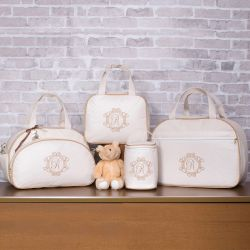 Conjunto de Bolsas Maternidade Valência Inicial do Nome Personalizada Marfim