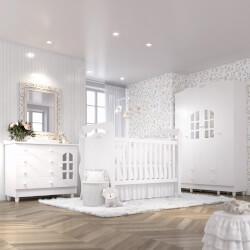 Quarto de Bebê Julie Provençal com Berço/Cômoda/Guarda-Roupa 4 Portas