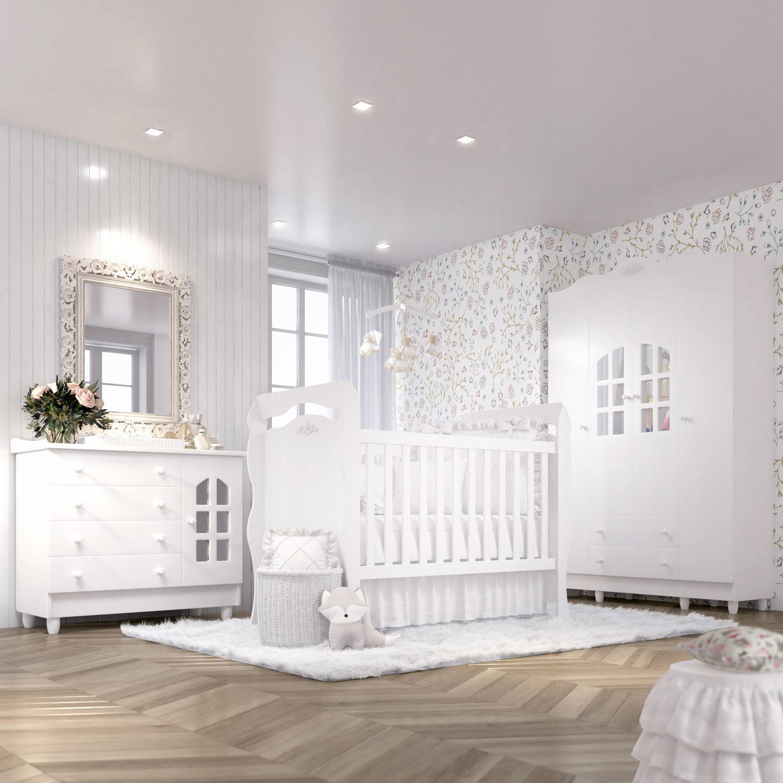 ea7dac771d Quarto de Bebê Julie Provençal com Berço Cômoda Guarda-Roupa 4 Portas