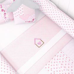 Jogo de Lençol para Mini Cama Patchwork Rosa