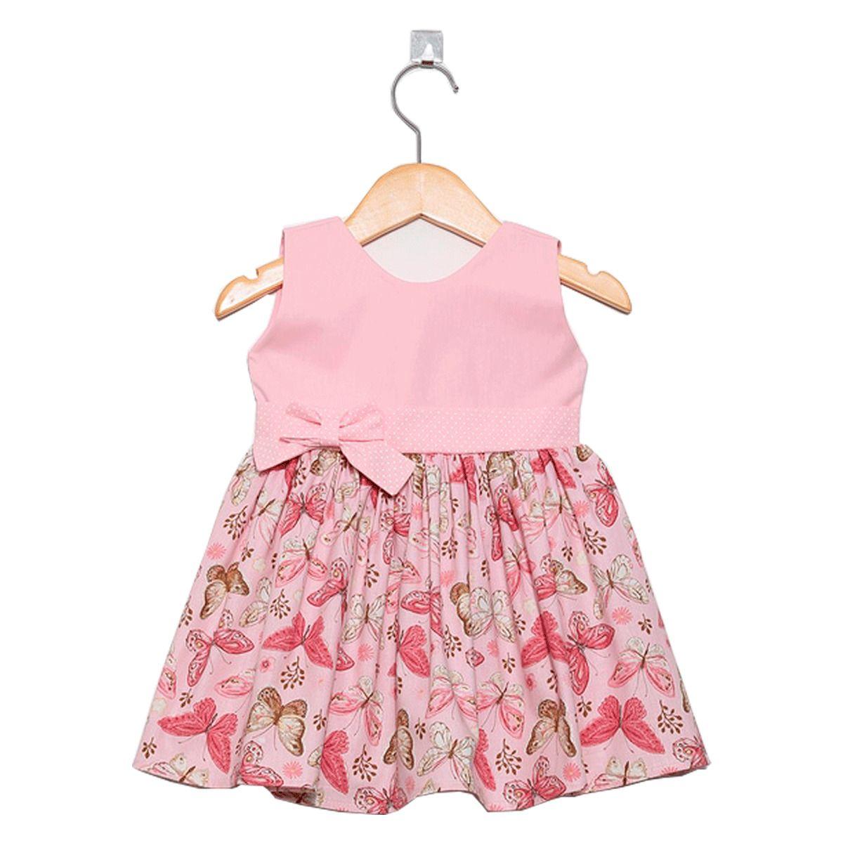Vestido Borboleta Rosa Bebê 3 a 6 Meses  4a101e07bd08