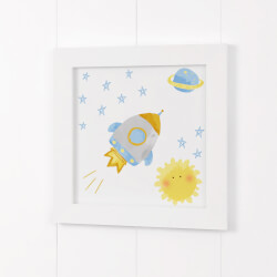 Quadro Foguete Patchwork Azul 20cm