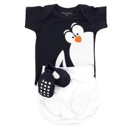 Conjunto de Body, Tapa Fralda e Sapatinho Pinguim