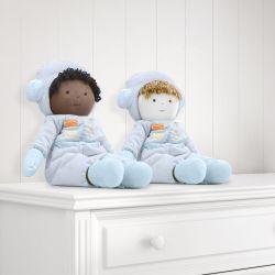 Bonecos de Pano Guto e Nando Astronautas Patchwork Azul