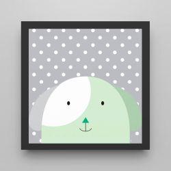 Quadro Amiguinho Cachorrinho Verde/Preto 18cm