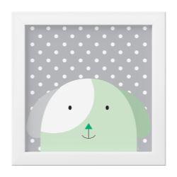 Quadro Amiguinho Cachorrinho Verde/Branco