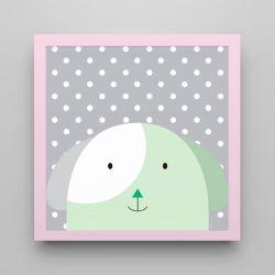 Quadro Amiguinho Cachorrinho Verde/Rosa 18cm