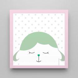 Quadro Amiguinho Carneirinho Verde/Rosa 18cm