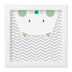 Quadro Amiguinho Gatinho Verde/Branco