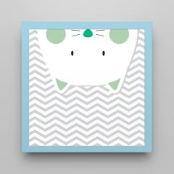 Quadro Amiguinho Gatinho Verde/Azul 18cm
