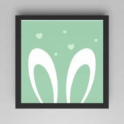 Quadro Amiguinho Orelhinhas Verde/Preto 18cm