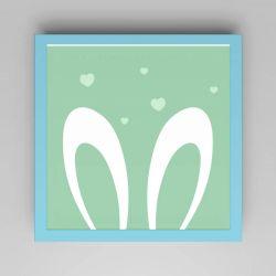 Quadro Amiguinho Orelhinhas Verde/Azul 18cm