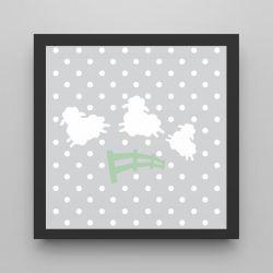Quadro Amiguinho Ovelhinhas Verde/Preto 18cm