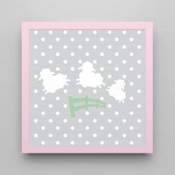 Quadro Amiguinho Ovelhinhas Verde/Rosa 18cm