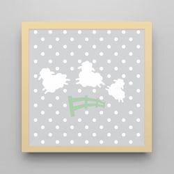Quadro Amiguinho Ovelhinhas Verde/Amarelo 18cm
