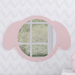 Espelho Redondo Amiguinha Cachorrinha Rosa 30cm
