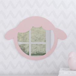 Espelho Redondo Amiguinha Ovelhinha Rosa 30cm