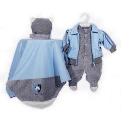 Saída Maternidade Plush Brasão Urso Azul Bebê