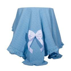 Manta Tricô Azul Bebê