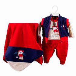 Saída Maternidade Plush Amo Baseball Vermelho