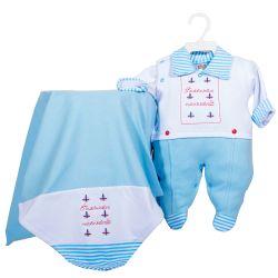 Saída Maternidade Suedine Meu Marinheiro Azul