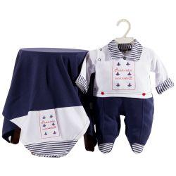 Saída Maternidade Suedine Meu Marinheiro Azul Marinho
