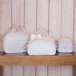 Conjunto de Bolsas Maternidade Chevron Marfim