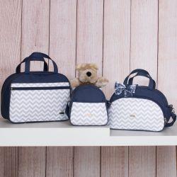 Conjunto de Bolsas Maternidade Chevron Azul Marinho