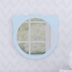 Espelho Redondo Amiguinho Gatinho Azul 30cm