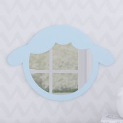 Espelho Redondo Amiguinho Carneirinho Azul 30cm