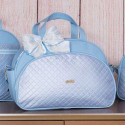 Bolsa Maternidade Metalizado Azul