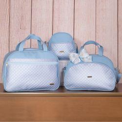Conjunto de Bolsas Maternidade Metalizado Azul