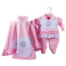 Saída Maternidade Suedine Brilha Princesa Rosa