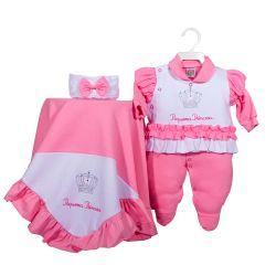 Saída Maternidade Suedine Brilha Princesa Pink