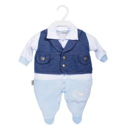 Macacão Longo Plush Meu Príncipe Azul Bebê
