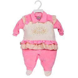 Macacão Longo Plush Princesa Coroada Pink
