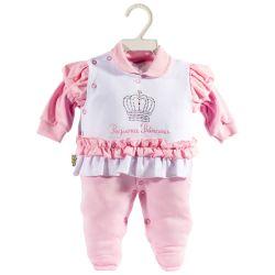 Macacão Longo Suedine Pequena Princesa Rosa Bebê