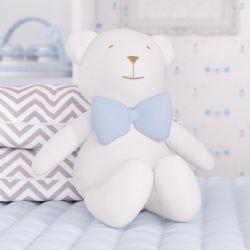 Urso Branco com Gravata Azul 42 cm