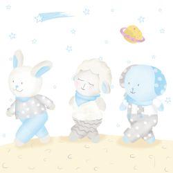 Quadro Amiguinhos na Lua
