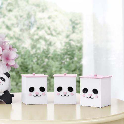 Jogo de Potes Urso Panda Floral Moderna