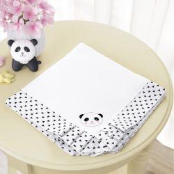 Manta Urso Panda Floral Moderna
