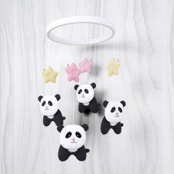 Móbile Urso Panda Floral Moderna