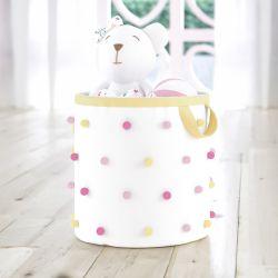 Cesto Organizador para Brinquedos Pompom Floral Moderna 35cm