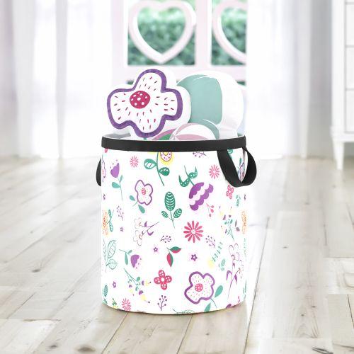Cesto Organizador para Brinquedos Floral Moderna 42cm